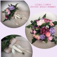 WEDDING FLOWERS PINK LILAC SILK FOAM BRIDE BOUQUET VINTAGE COUNTRY PEONY FOLIAGE